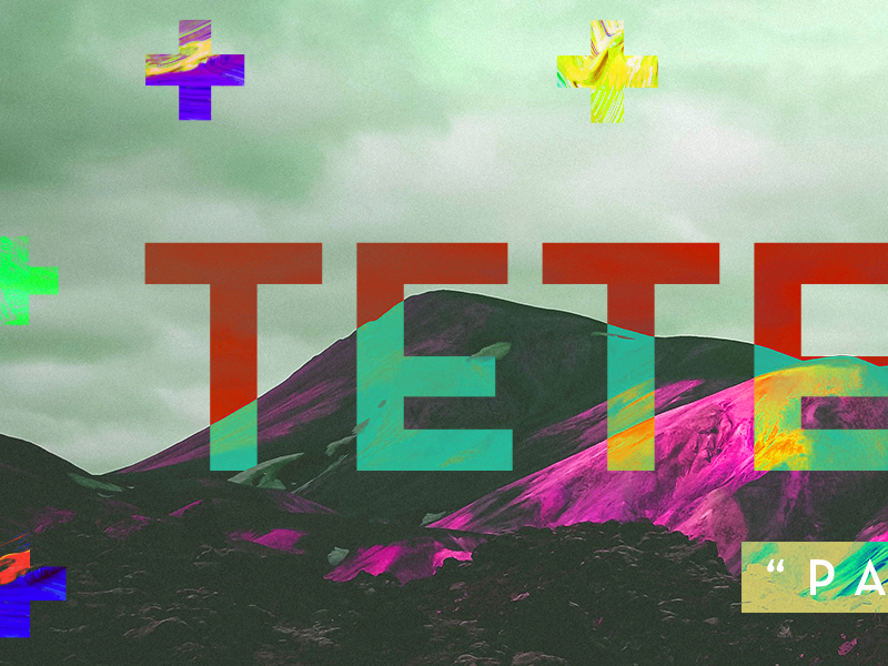 Tetelestai sermon series easter color overlay mountains colorful plus sign cross church