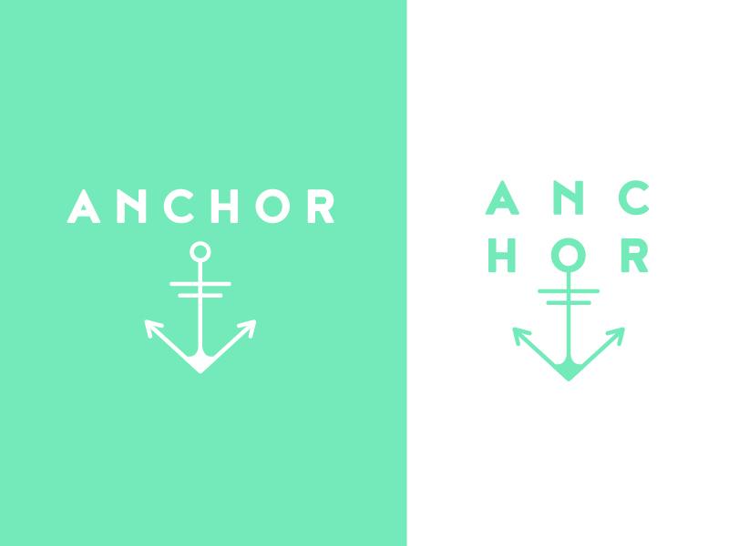 Anchor word mark minimalistic typography neon bright branding design anchor logo