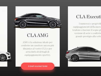 Mercedes CLA Cards responsive web mobile commerce ux ui material cards app