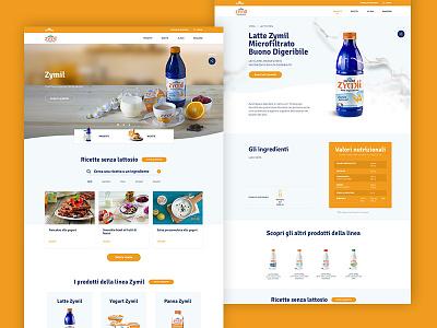 Zymil Desktop Layout slider restyling recipes product nutrition milk brands hero homepage ux ui