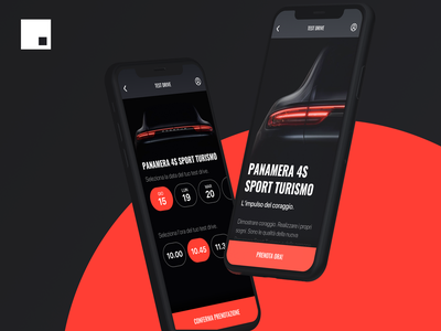Car Test Drive Booking — Invision Studio porsche panamera car app test drive booking interaction ui
