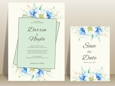Beautifull wedding invitation flower design nature background elegant invitation card frame template flower floral