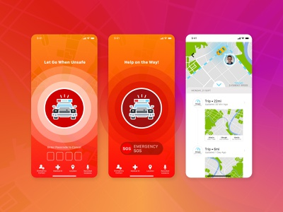 Safety Duo iPhone Screens design minimal app ui ux