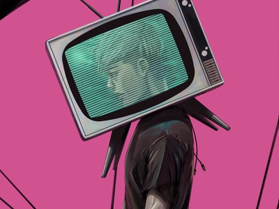 TV Head man boy slave control media television concept art scene realistic drawing digital painting illustration