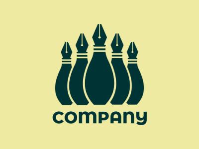 PIN PEN pen bowling combine design logo object
