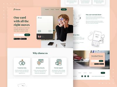 Fincom - Credit Card Website fintech finance typography illustration figma design figma web design web ui website homepage landingpage ux design ui design uiux ux