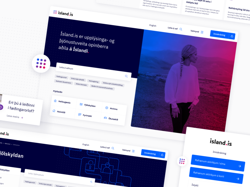 Digital Iceland government log in sign in search user gradient dot grid uiux web design design ux ui iceland goverment