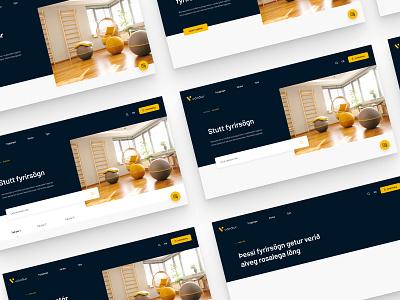 Vörður website - Building blocks header design navigation input field mobile chat bubble button responsive template search header cards illustration insurance landing website blocks