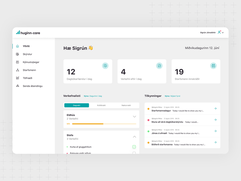 Huginn.care Dashboard hospital report reports documents journal to do to do list healthcare design web design uiux ux ui desktop chat counter dashboard