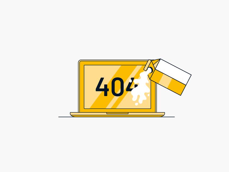 404 Illustration 404 error page 404 page mac laptop computer landing page error jökulá jokula yellow linear drawing spill dairy milk illustration 404
