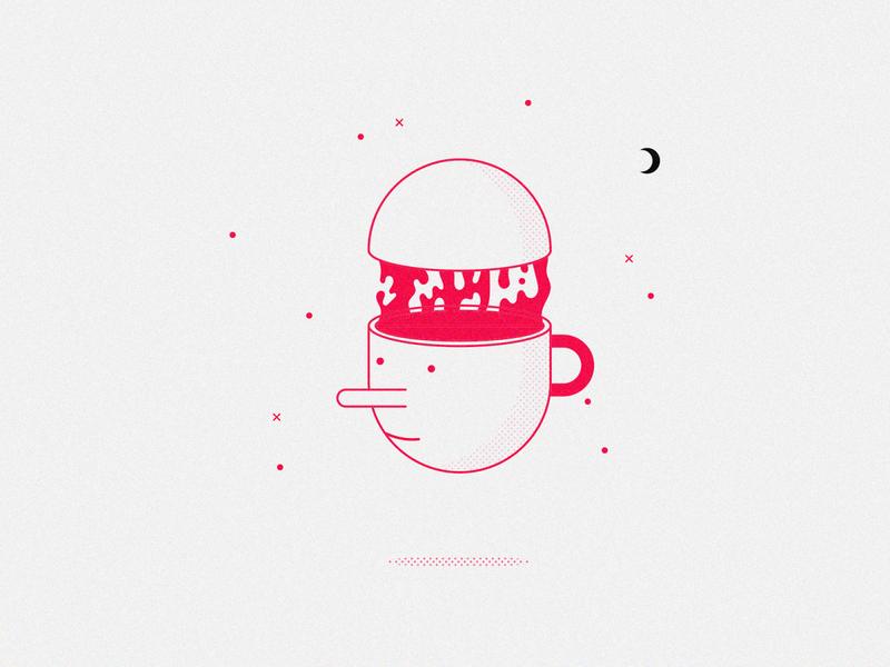 Mindless - Inktober inktober 2019 inktober 2018 blood spill smile drawing october mindless mind coffee illustration flash tattoo inktober