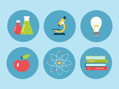 Science Fair Icons - P1 flask beaker microscope lightblub apple atom books science fair flat illustration icons