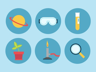 Science Fair Icons - P2 saturn goggles sample plant burner magnify glass flat illustration icons