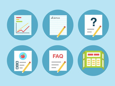 Science Fair Icons - P3 graph chart science paper writing question fair faq backboard project documents