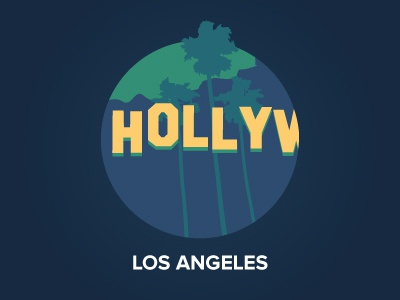 Los Angeles illustration icon visual design flat los angeles city hollywood palm tree