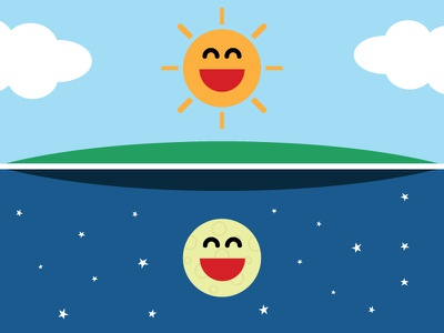 Sun & Moon sun moon illustration friendship design happy sky space clouds smiles flat