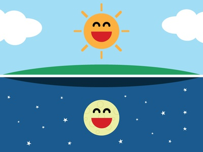 Sun & Moon sun moon illustration friendship design happy sky space clouds smiles flat