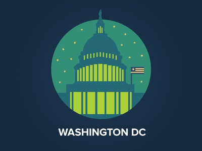 Washington DC congress night sky icon badge flat washington dc city flag usa capitol