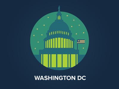 Washington DC congress night sky icon badge flat washington dc city flag usa capitol