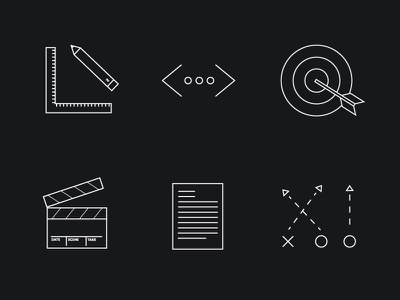 Outline Service Icons black white outline marketing design ruler pencil code bullseye film strategy letter