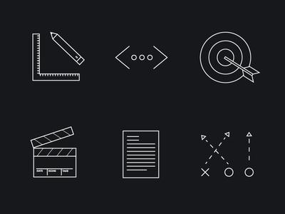 Outline Service Icons black white outline marketing design ruler pencil code bullseye film strategy letter