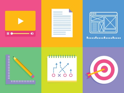 Radish Lab Icon Set icons flat video player letter wireframe design pencil playbook strategy goals target