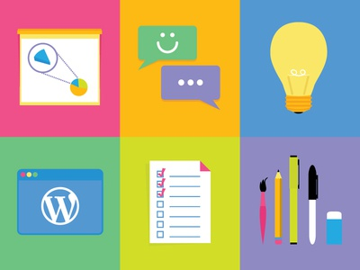 Radish Lab Icon Set flat illustration presentation graph social idea light blub wordpress check list pen pencil eraser