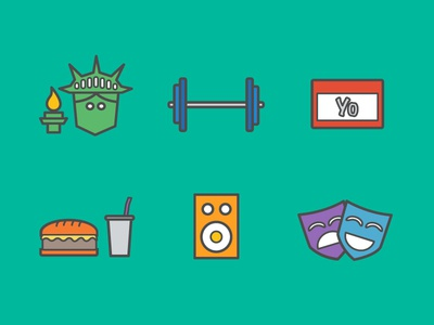 New York Event Icons new york health meetup food hamburger drama music speaker drink