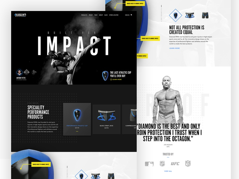Diamondmma3 bold dark layout condensed font website anml fight club action sports sporting goods sports webdesign web ufc mma fight
