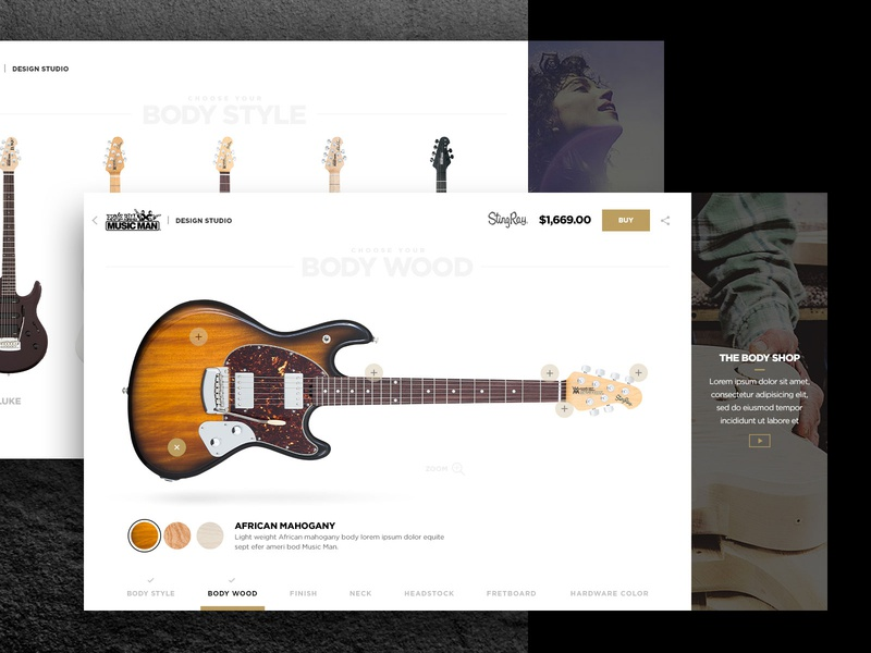 Throwback - MusicMan Guitar Builder webdesign user experience uidesign product customization customizable commerce instrument music guitar configurator builder