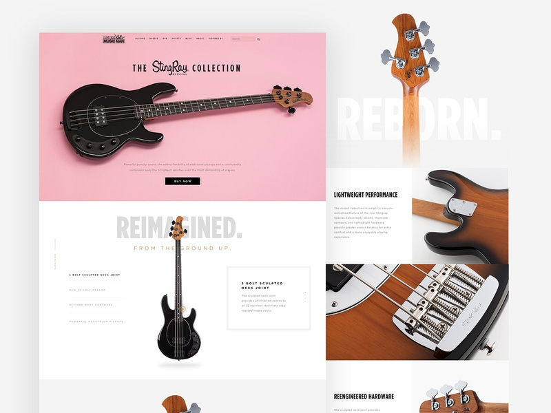 ErnieBall MusicMan Product Page web ux ui anml music guitar commerce product page