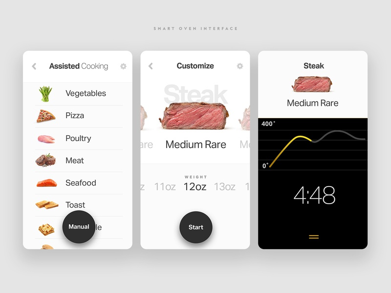 Smart Oven Interface anml app design connected devices smarthome appliance connected home food app interaction product ux ui