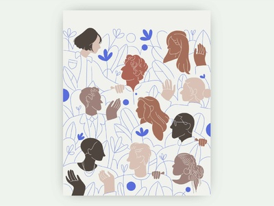 Growth & Community community crowd florals flowers women people figure drawing hands ipad pro brand apple pencil woman character illustration