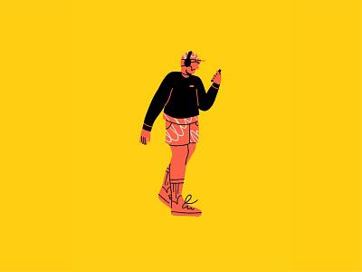 Distracted phone pattern walking headphones man figure ipad pro apple pencil character illustration