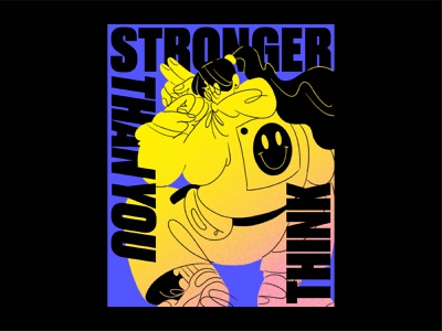 Stronger! glasses strong typography type gradient sneakers smile hands drawing figure ipad pro apple pencil woman character illustration