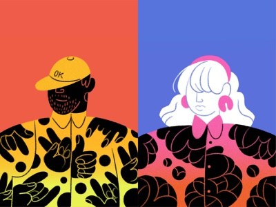 Portraits! graphicdesign bold floral hands hat man gradient pattern flowers characterdesign people figure drawing woman ipad pro apple pencil character illustration