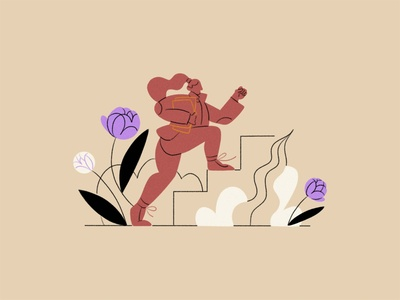 Get in touch! forms get in touch say hi notes progress running grass steps form pattern flowers figure drawing woman ipad pro apple pencil character illustration