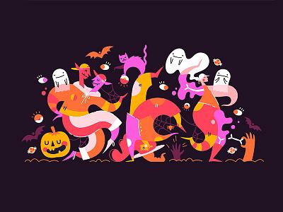 Boogie monsters illustration spider ghost witch pumpkin monsters monster dance halloween