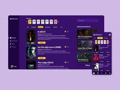 Moovaro - Cinema Web Dashboard dashboard webdesign web cinema ui concept app