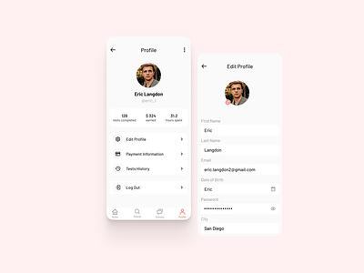 User Profile forms settings design mobile concept app profile user ui