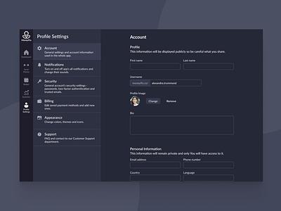 Web App Settings desktop design branding dark mode dark settings web dashboard concept ui