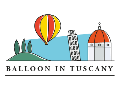 Balloon In Tuscany Logo logo flat italy tuscany florence firenze pisa balloon hills cypress chianti