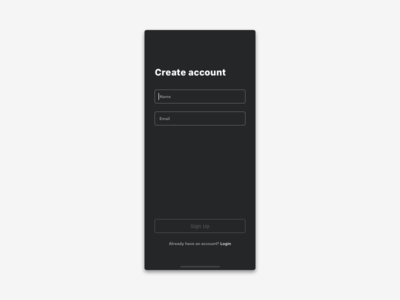 Dark Sign Up - DailyUi #001 ui challenge sign up page sign up name login email daily ui challenge dailyui create account app screen app daily 001