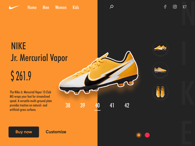 Nike landing page icon ux graphic design web ui design vector illustration app