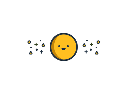 Character 3 geometric illustration white blue yellow cute character