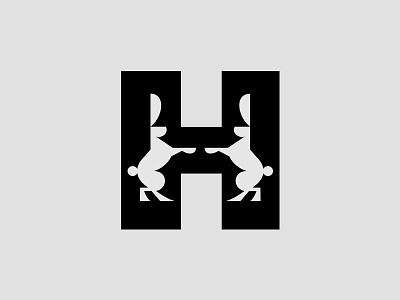 H identity branding brandmark symbol logo hare rabbit