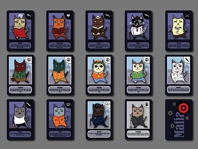 mafia game cats game card mafia vector illustration design
