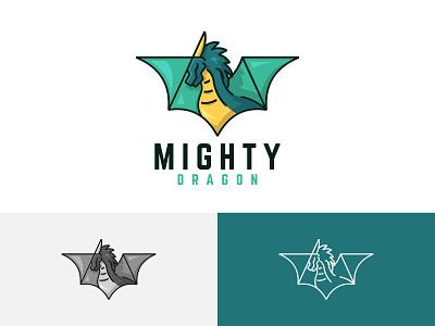Mighty Horned Green Dragon Flying Wings Strong Legendary Logo symbol app icon vector branding illustration design logo legendary strong wings flying dragon green horned mighty