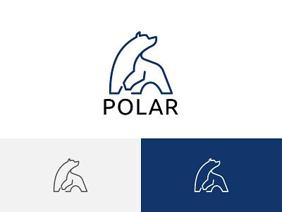 Big Polar Bear Cool Ice Abstract Line Logo ui illustration horned green flying dragon design branding app logo line abstract ice cool bear polar big