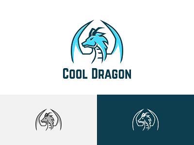 Blue Cool Ice Dragon Esport Game Logo Symbol ui illustration horned green flying dragon design branding app symbol logo game esport deagon ice cool blue